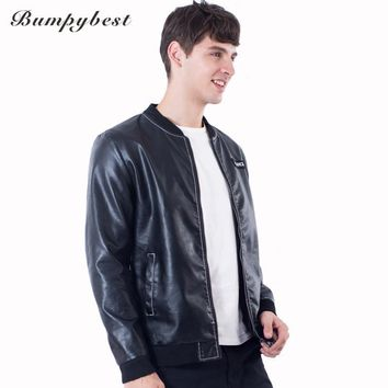 Men Stand-Collar PU Leather Zippers Jacket Fit Designer Jacket Coat Windbreaker Men's Casual Jacket Coat