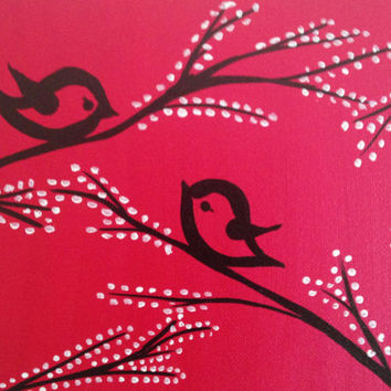 Acrylic painting canvas art Love birds Wall art decor Pink  background Tree Love Birds silhouette Black and white tree Lovers gift Christmas