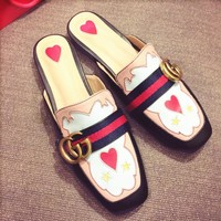 GUCCI Fashion Women Casual Stripe Double G Flat Sandals Slippers Shoe