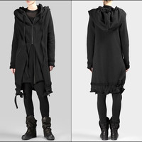 Women's BLACK Long Hoodie / Asymmetric Raw Cut Seam Detail Sweaters Hoodie 2016 / Zipped Side Pockets  - Bottom Drawstrings