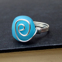 Blue Opal Sea Glass Ring:  Fine Silver Swirl Spiral Wire Wrapped Beach Jewelry, Size 7
