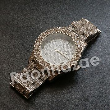 """Iced Out HipHop """"Passion Fruit"""" Silver Techno Pave Wrist Watch"""
