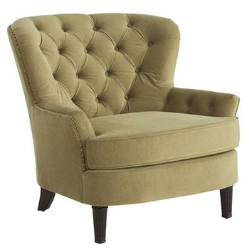 Eliza Olive Green Uphoslstered Armchair