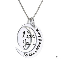 """[flash New Arrival Fashion """"i love you to the moon and back"""" Sun Moon Shaped Pendants Necklace charm Jewelry = 5988037953"""