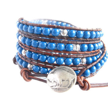 Blue Buffalo Beaded Leather Wrap Bracelet, 5X Wrap, beaded bracelet, Bohemian Western Sparkle Layering