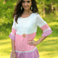 White, Coral, and Lavender Tiered Color Block Tunic with Crochet Trim