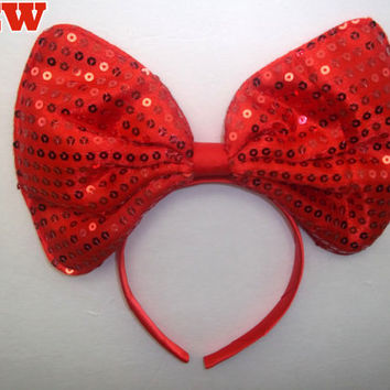 Minnie Mouse Ears Headband Bright Red Sequin Sparkle BIG Hair Bow Mickey