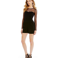 Laundry by Shelli Segal Long Sleeve Illusion Crepe Romper | Dillards