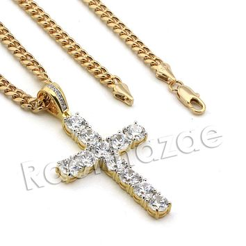 Lab diamond Micro Pave Enlighten Jesus Cross Pendant w/ Miami Cuban Chain BR104