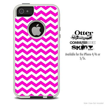 The Pink & White Chevron Skin For The iPhone 4-4s or 5-5s Otterbox Commuter Case