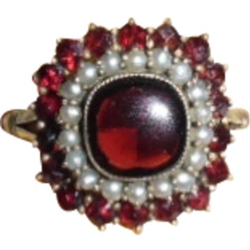 Antique Georgian/Victorian 18K Cabochon Garnet Seed Pearl Ring