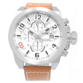 Invicta 18991 Men's Corduba Edge White Dial Brown Leather Strap Chronograph Watch