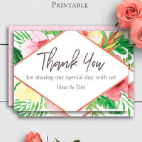 Tropical Wedding Thank You Card, Printable Thank You Template, Watercolor Wedding Template, Personalized Wedding Template, Palm Leaf