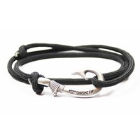 Adjustable Fish Hook Bracelet - Black