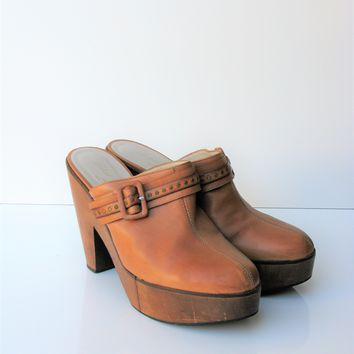Robert Clergerie Split Sole Leather Platform Clogs Mules Slides 8.5