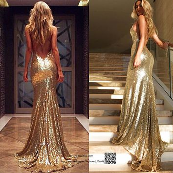 Sexy Sparky Gold Sequin Evening Gowns Formal Mermaid Prom Dresses Long Party 2017 Backless Vestidos de Festa Special Occasion