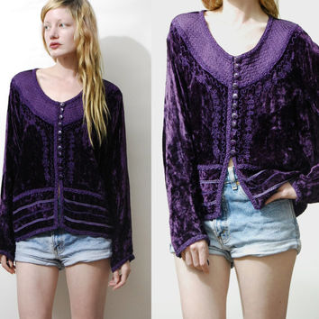 90s Vintage PURPLE Crushed Velvet Top Blouse Shirt Long sleeved Button down Gypsy Bohemian Hippie Quilted Braiding 1990s vtg S M L