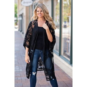 Steal The Moment Crochet Lace Duster : Black
