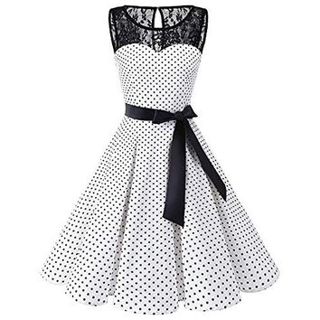 girls dress summer women polka dot sash wrap party dress a line sleeveless lace girl dresses vintage dresses