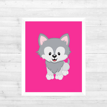 Husky Dog Arctic Animal on Hot Pink Solid Background Decor Baby Print CUSTOMIZE YOUR COLORS 8x10 Prints Nursery Decor Baby Room Decor Kids