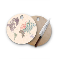 Gypsy World Floral Map Round Cutting Board Trendy Unique Home Decor Cheese Board