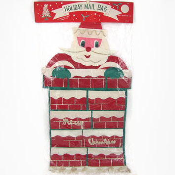 Down the Chimney - Vintage 1950s Felt Santa Claus Holiday Mail Bag For Christmas Cards by Trim A Tree, Extra Large, New in Package