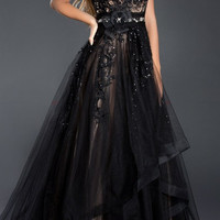Black Label Couture 46 Evening Ball Gown Prom Pageant MOB Dress Sheer Illusion