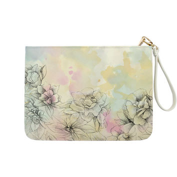 Watercolor Floral Clutch - 7x9 in Faux Leather Handbag - Clutch - Pouch - AGB-017-FULL