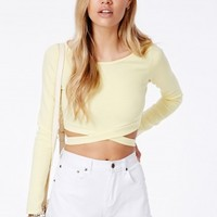 Missguided - Chara Bandage Waist Crop Top In Lemon