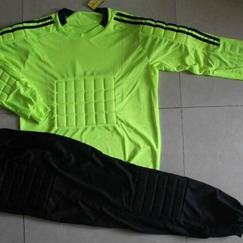 For Adult High elastic polyester Goalkeeper Sets Breathable Soccer Goalie Clothing Uniforms Long Sleeve Goalkeeper Jerseys