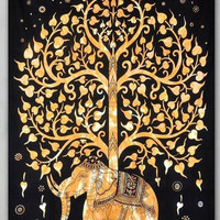 Magical Thinking Tree Of Life Gold Trippy Wall Hanging Elephant Tapestry