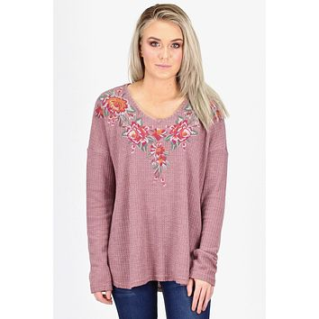 Boyfriend Thermal w/ Embroidery L/S {Mauve}