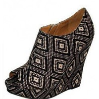 Black PEEP TOE BOOTIE WEDGE @ KiwiLook fashion