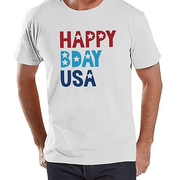 Custom Party Shop Men's Happy Bday USA 4th of July White T-shirt