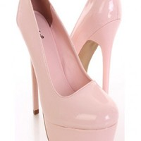 Pink Patent Faux Leather Heels