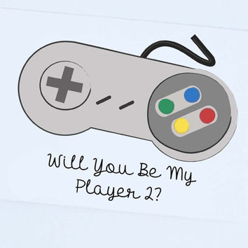 Will you be my player 2? Funny Love Card, Valentine Card, Dorky Love Card