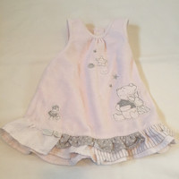 DISNEY Pooh Piglet pink velvet sleeveless top Baby girls clothes 6-9 Months