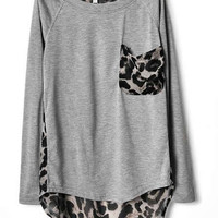 Ladies Cotton and Chiffon Grey Loose Top YIF11664g