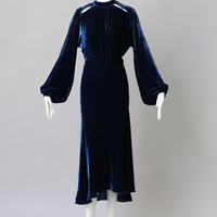 1930s Sapphire Blue Silk Velvet Gown with Cut Outs
