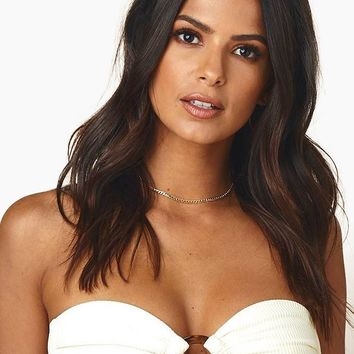 Tori Ribbed Bandeau Center Ring Bikini Top - Cream Rib