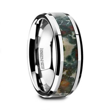 Camo Tungsten Wedding Ring Coprolite Fossil Inlay Beveled Polished Finish - 8mm