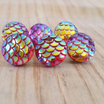 "Thumbtacks, Pushpins, Snake Skin Scales Iridescent Oil Slick Colors, 1/2"" Round Acrylic - Cubicle Office Decor, Cork Boards, Dorm Decor"