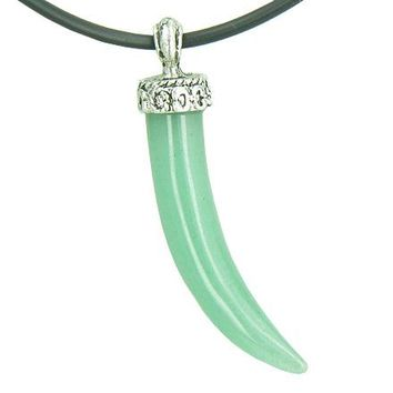 Amulet Italian Horn Lucky Charm Green Aventurine Gemstone Good Luck Powers Pendant Necklace
