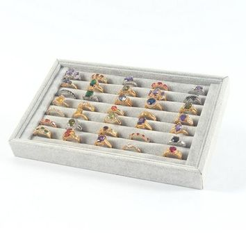 Jewelry Rings Display Tray Velvet About 50 Slot Case Box Jewelry Storage Box