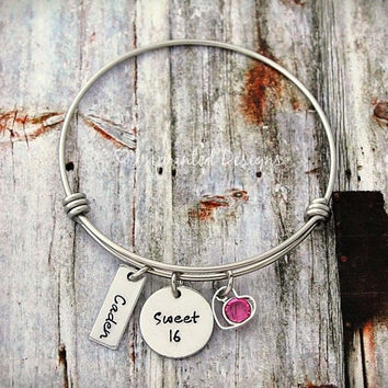 Charm Bracelet - Wire Bangle - Sweet 16 - Charm Bracelet - Bangle - Adjustable - Name Bracelet -  Heart - Birthday Gift For Her