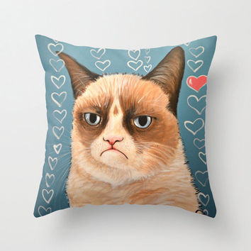 "Decorative throw pillows cover ... from my original kitty painting, ""Grumpy Cat...Love You"" ... 16"" x 16"" ... Tardar Sauce"