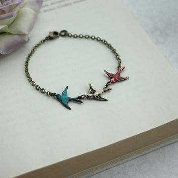 Three Tiny Flying Swallow Birds Bracelet. Teal Blue, Red, Mother Daughters. 3 Sisters. Best Friends. Seniors Graduation. Family New Baby.