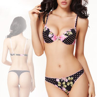 Balaloum Underwear Women Sexy Bra Set Romantic Floral Printed Push Up Brassiere Thong Sets Lolita Ladies Luxury Intimates New