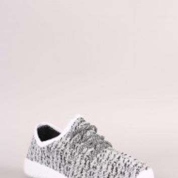 Qupid Spec Flyknit Rigged Contrast Sneakers