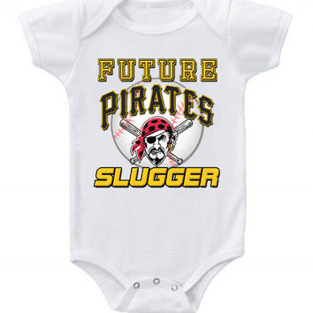 New Cute Funny Baby One Piece Bodysuit Baseball Future Slugger MLB Pittsburgh Pirates #4